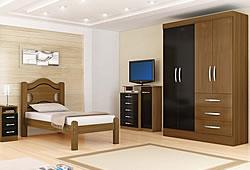 cama e guarda roupas com quatro portas